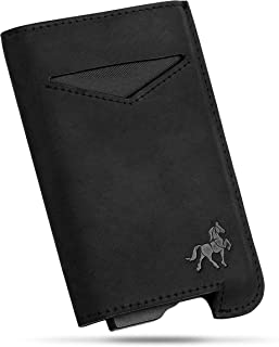 Smart Minimalist Wallet by Archaon – Modern RFID Leather Covered Metal Credit Card Holder for Men
