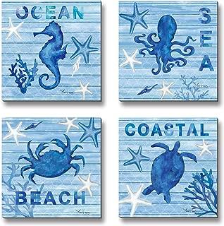 3Hdeko - Bathroom Wall Decor Coastal Beach Wall Art Blue Ocean Theme Sea Animals Painting Small Sea Turtle Seahorse Octopus Crab Pictures, 4 Pieces Canvas Prints, Ready to Hang (12x12inchx4pcs)