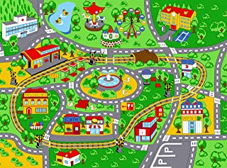 """SugarPoP Kids Carpet Playmat City Life Road Rug Large 79""""X58""""  Play with Cars, Trucks and Toys  Washable, Non-Slip - Green"""