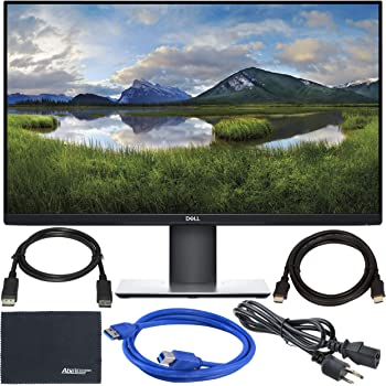 "Dell P2719H 27"" 16:9 IPS Monitor + Display Port Cable + ZoomSpeed HDMI Cable + USB 3.0 Cable + AOM Microfiber Cleaning Cloth Monitor Bundle"