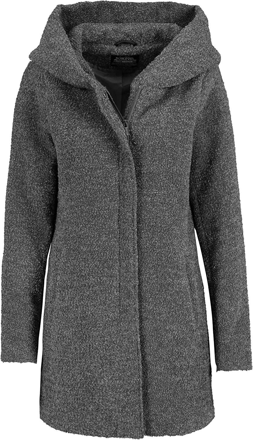 Sublevel Damen Winter-Mantel mit Kapuze aus Woll-Mix Dark-grey