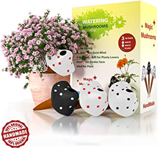 Plant Watering Globes -MushroomsTerracotta | 3 Self Watering System Spikes | Automatic Plant Waterer | Irrigation Drippers | Wands Keep Indoor | Plants,Hanging Pots, Outdoor Garden Soil Moi