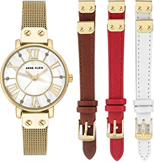 Anne Klein Womens Analogue Classic Quartz Watch with Leather Strap AK/N3180GBST
