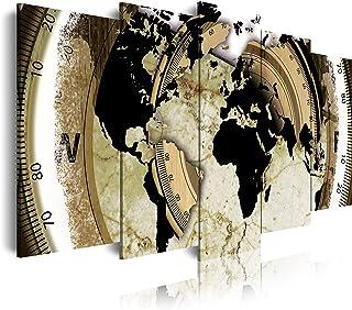 DekoArte - Cuadros Modernos Impresión de Imagen Artística Digitalizada | Lienzo Decorativo Para Tu Salón o Dormitorio | Estilo Mapamundi Mapa del Mundo | 5 Piezas 150 x 80 cm