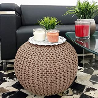 Frenish Décor Hand Knitted Cotton Ottoman Pouf Footrest 20x20x14 INCH, Living Room Accent seat (Taupe)