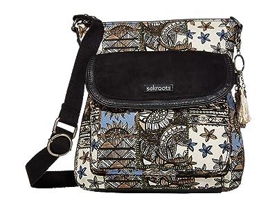Sakroots Artist Circle Flap Crossbody (Black Desert Patch) Cross Body Handbags