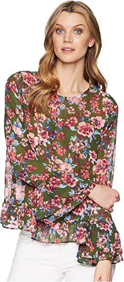 KUT from the Kloth Trixy Scoop Neck Ruffle Sleeve Top