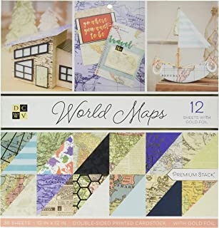 DCWVE DCWV Premium Stack-12 x 12-Double-Sided-World Maps-Gold Foil-36 Seat PS-002-00023, Multicolor