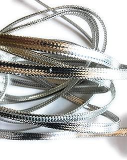 Silver Metallic Flat Braid Cord 1/4