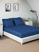D'Decor 400TC Cotton Double Bedsheet with 4 Pillow Covers - King Size, Solids, Blue (Blue)