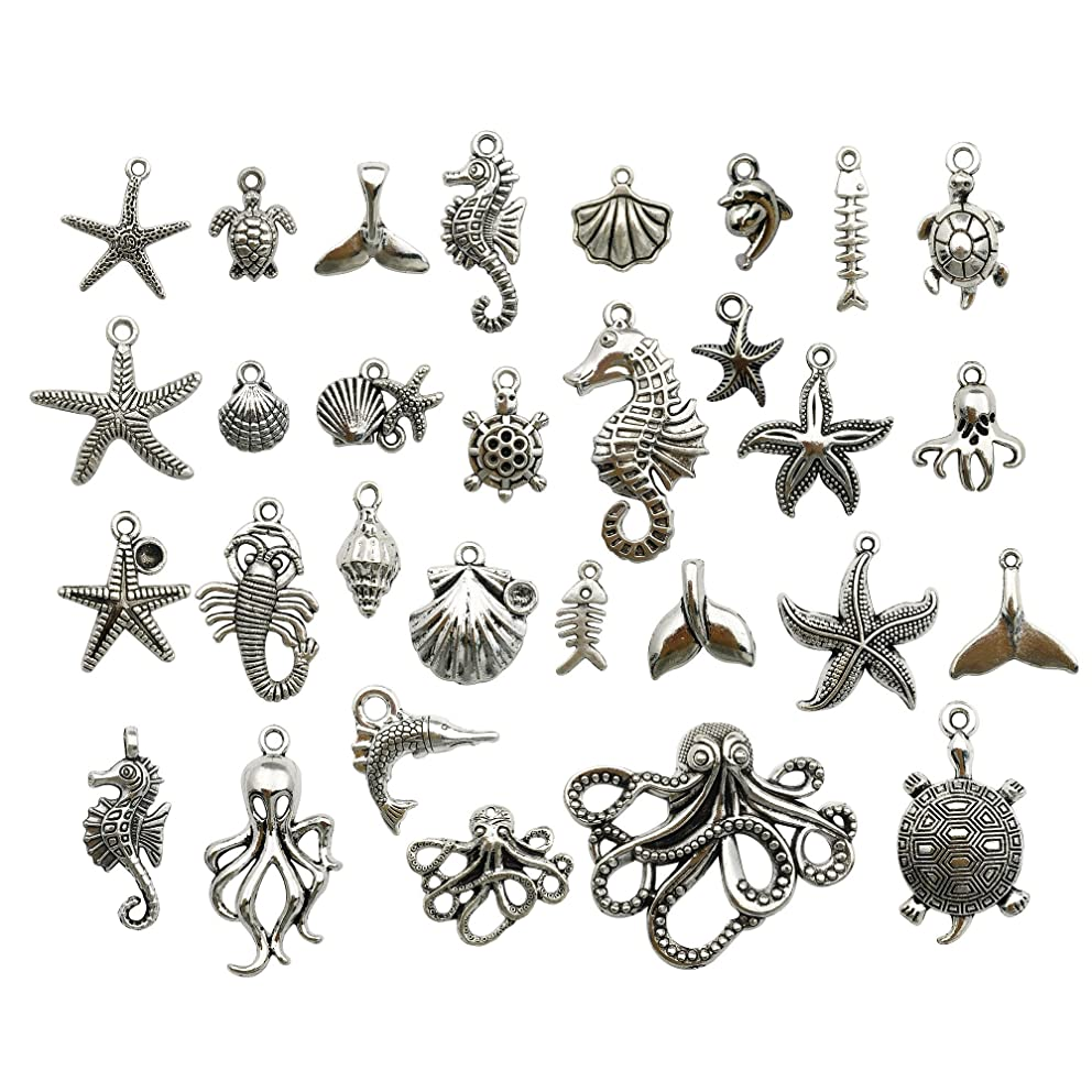 Silver Marine Charm Collection-100g Craft Supplies Marine Life Seashell Charms Pendants for Crafting, Jewelry Findings Making Accessory For DIY Necklace Bracelet m72 (Silver Marine Charms)