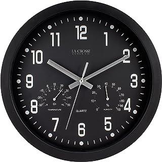 "La Crosse 404-2631 12"" Black Analog Clock with Temp & Humidity"