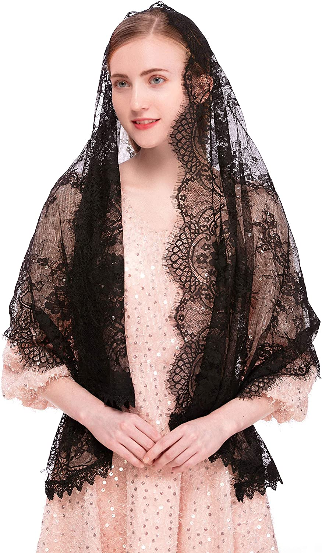 Pamor Rectangular Chapel Veil Spanish Lace Floral Mantilla Veils Wrap Shawl Mass Head Covering