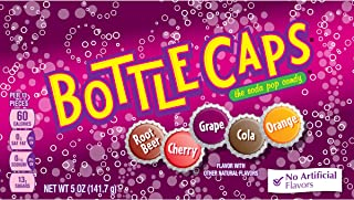 Bottle Caps Cola Candy, Cherry/Grape/Root Beer/Orange, 5 Ounce, Pack of 10