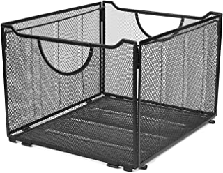 Flexzion File Box Organizer Storage Basket Bin with Handle - Letter Size Collapsible Metal Mesh Container Cube Foldable Crate for Desktop Folder Holder Rack Home Office (Black)