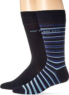 BOSS HUGO BOSS Men's 2-Pack Stripe Solid Pattern Dress Sock, blue, 10-13