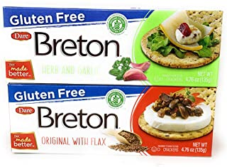 Gluten Free Breton Cracker Bundle of Two Flavors: One Box of Herb and Garlic and One Box of Original with Flax