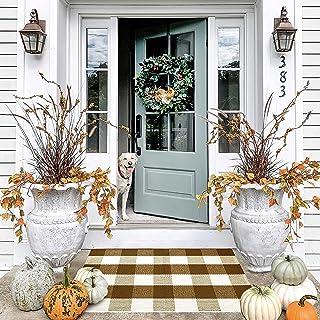 Door Mat - Welcome Mat - Indoor Door Mat - Buffalo Plaid Outdoor Rug - Fall Door Mat - Brown Doormat - Fall Decor Outdoor...