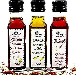 Pikante Chiliölspezialitäten 3 x 100ml aus der Finca Marina Gewürzmanufaktur - perfekt für alle Chilifreunde!