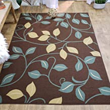 Area Rug 5x7 Brown Floral Kitchen Rugs and mats | Rubber Backed Non Skid Rug Living Room Bathroom Nursery Home Decor Under Door Entryway Floor Non Slip Washable | Made in Europe