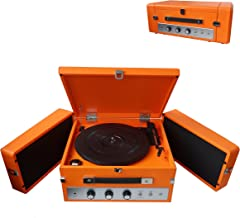 Pyle Bluetooth Suitcase Record Player – Updated Version Portable W/ 3-Speed..