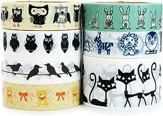 Crafty Rabbit Animal Washi Tape - Set of 7 Rolls - 229 Feet Total - Multicolor