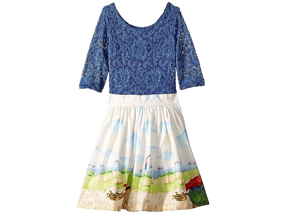 fiveloaves twofish Horse Rider Wanderlust Dress (Toddler/Little Kids) (Wedgewood Blue) Girl