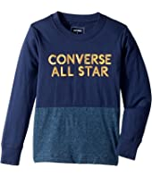 Converse Kids Long Sleeve Static Heather Silicone Tee (Toddler/Little Kids)