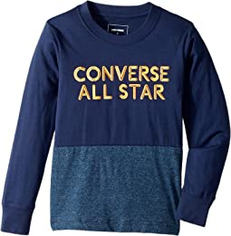Converse Kids - Long Sleeve Static Heather Silicone Tee (Toddler/Little Kids)