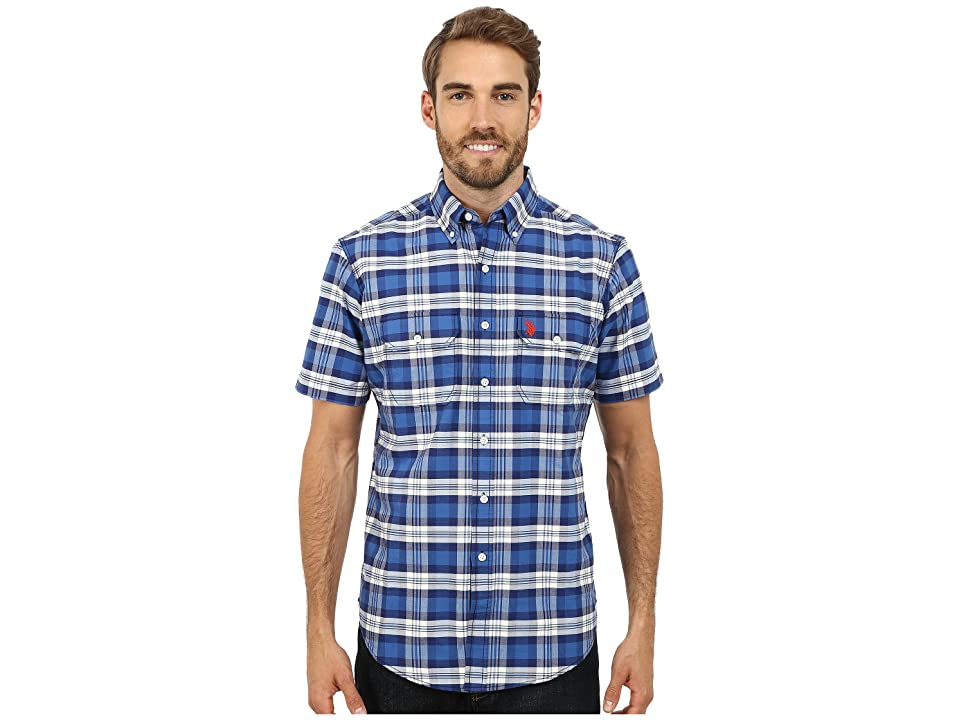 U.S. POLO ASSN. Short Sleeve Plaid Sport Shirt (Bright Cobalt) Men