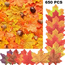 Boao 650 Pieces Fall Leaves Artificial Maple Leaves Fake Leaves for Festivals Wedding Party Decoration Favors, 13 Colors