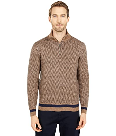 J.Crew Merino Nylon Herringbone 1/2 Zip (Herringbone Toast Donegal) Men