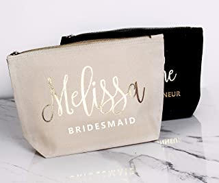 Bridesmaid Gift Makeup Bags Toiletry Bags For Bridesmaids Maid of Honor Proposal Cosmetic Bag Custom Name Makeup Bags Bridal Cosmetic Bags