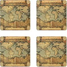Lunarable Wanderlust Coaster Set of 4, 16th Century Map of the World History Adventure Civilization, Square Hardboard Gloss Coasters for Drinks, Orange Sand Brown Army Green