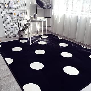 Ukeler Black and White Polka Dot Rug Children Crawling Mat Non Slip Thicken Washable Carpet for Nursery Room, 59''x74.8''