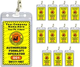 Forklift Operator ID Badges (12 pcs) - PVC Plastic {Custom Printed with Your Company Name} 12 pcs - Badge Holders & Clips Included - Authorized/Training