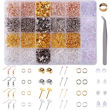 Head Pins Jump Rings and Earring Findings for Jewelry Making and Earrings Repairing Eye Pins Earring Backs Posts BQTQ 3600 Pieces Earring Making Supplies Kit with Earring Hooks