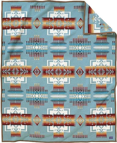 Pendleton Chief Joseph Wool Blanket Aqua Queen Size