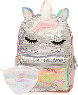 Sequin Sleeping Unicorn Backpack for Girls with Sequin Face Mask – Large 16 inch