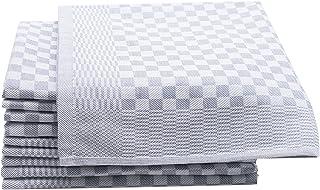 ZOLLNER Set de 10 torchons, 100% Coton, 46x70 cm, Gris (Autres Disponibles)