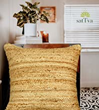 satTva Cushions Covers - Boho Jute Decorative Throw Pillow Covers for Living Room Sofa 45x45 - Textured Beige 18""