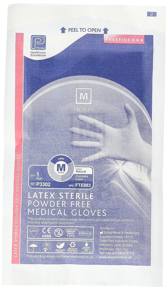 有罪下線領事館プレミアP3302滅菌パウダーフリーラテックス手袋、ミディアム(50個入り)