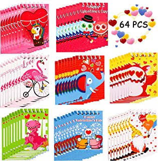 64 Pieces Valentine's Day Notepads Party Favors for Kids - Spiral Notebooks Valentines School Classroom Gift Exchange Pape...