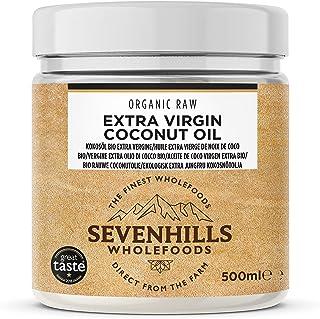 Sevenhills Wholefoods Aceite De Coco Virgen Extra Orgánico, Crudo, Prensado En Frío, Contenedor De Plástico 500ml