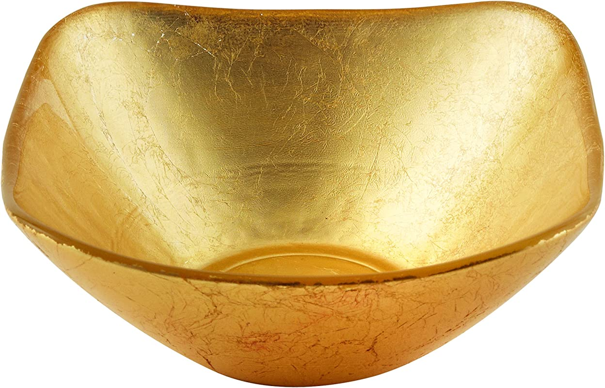 Elegance Atlas Square Gold Glass Bowl 9 5 Inch
