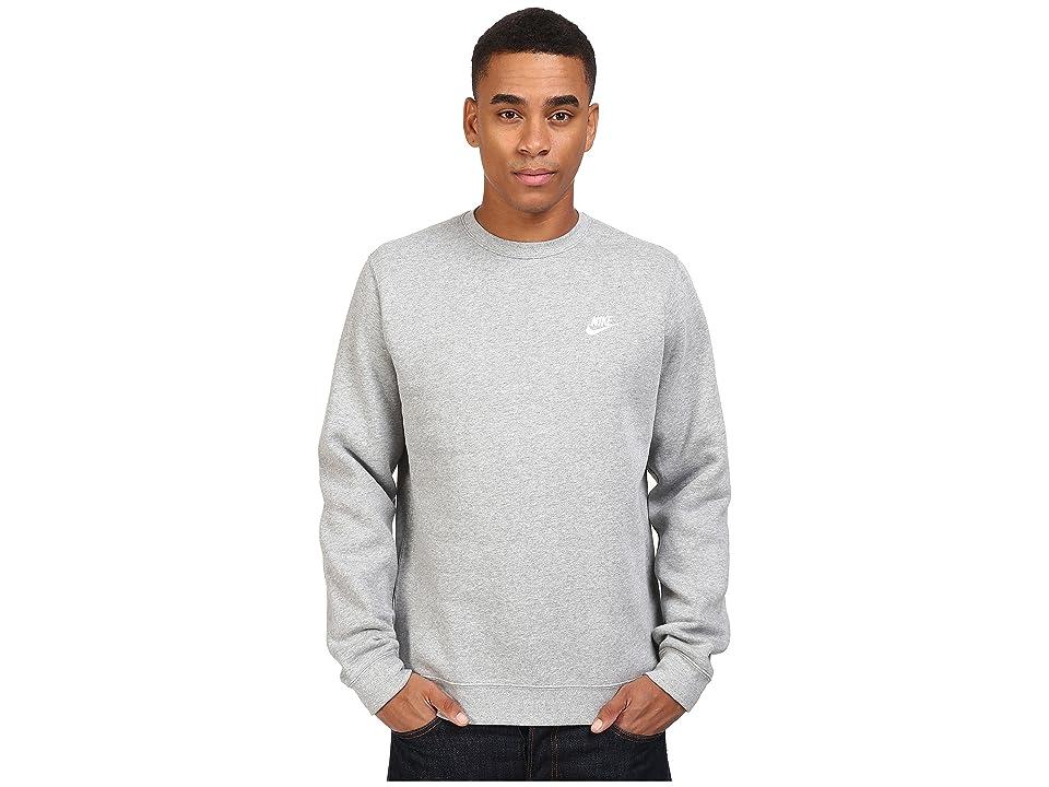 Nike Club Fleece Pullover Crew (Dark Grey Heather/White) Men