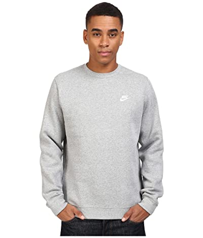 Nike Club Fleece Pullover Crew (Dark Grey Heather/White) Men