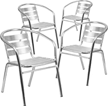 Flash Furniture 4 Pk. Heavy Duty Commercial Aluminum Indoor-Outdoor Restaurant Stack Chair with Triple Slat Back