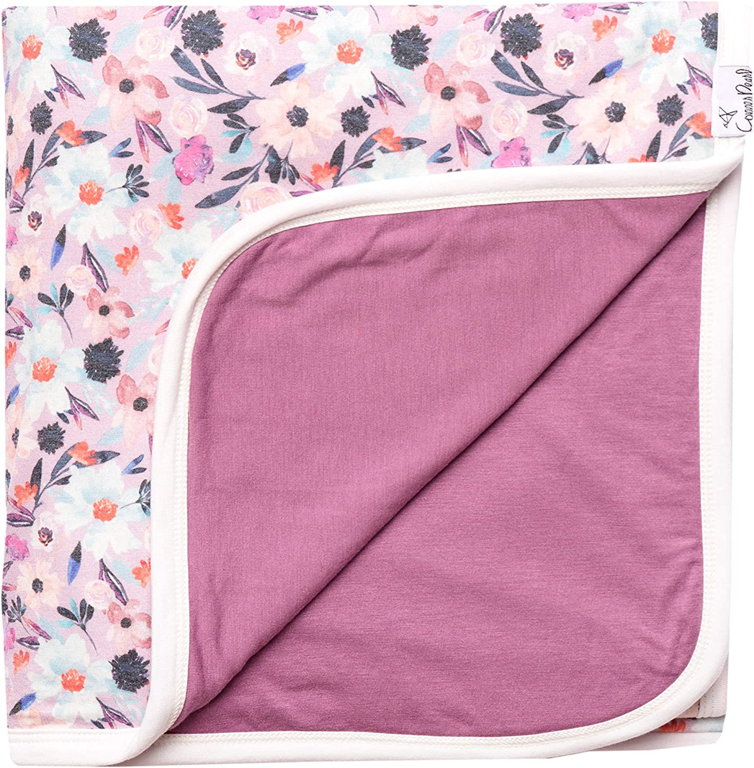 Large Premium Knit Baby 3 Layer Stretchy Quilt Blanket Floral Morgan  by Copper Pearl