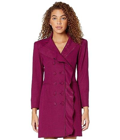 Nanette Lepore Mini Houndstooth Ruffle Coat Dress (Pink) Women
